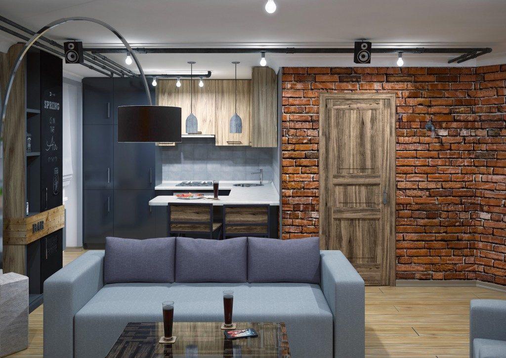 3Д дизайн лофта в однушке