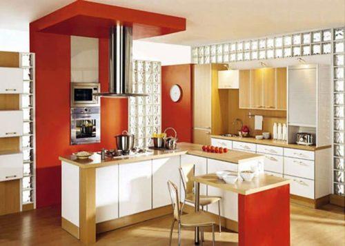 декор стеклоблоками в кухне