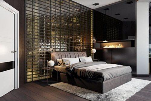 стеклоблоки в спальне
