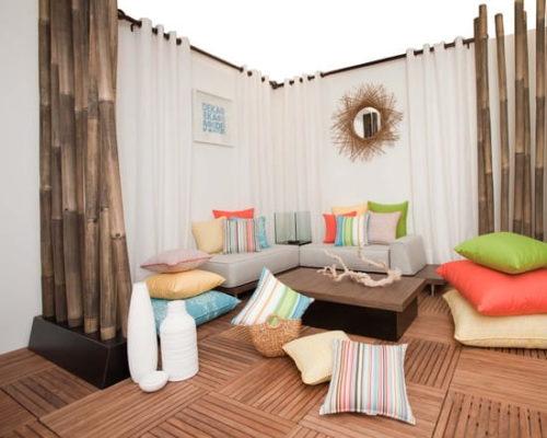 бамбуковые перегородки в зоне отдыха