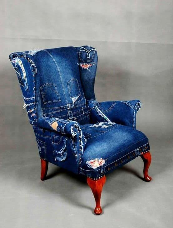 брутальное джинсовое кресло