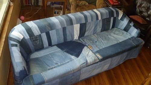 диван из кусочков джинсы