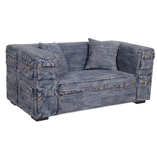 диван из синего денима