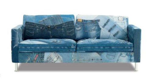 диван из старого денима