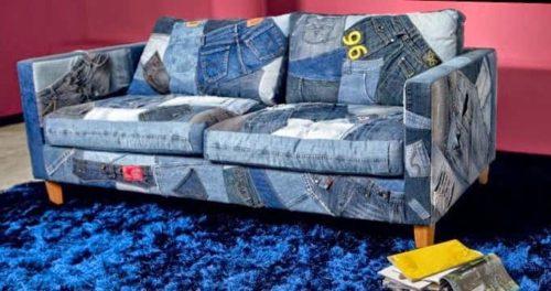 диван оббит джинсой