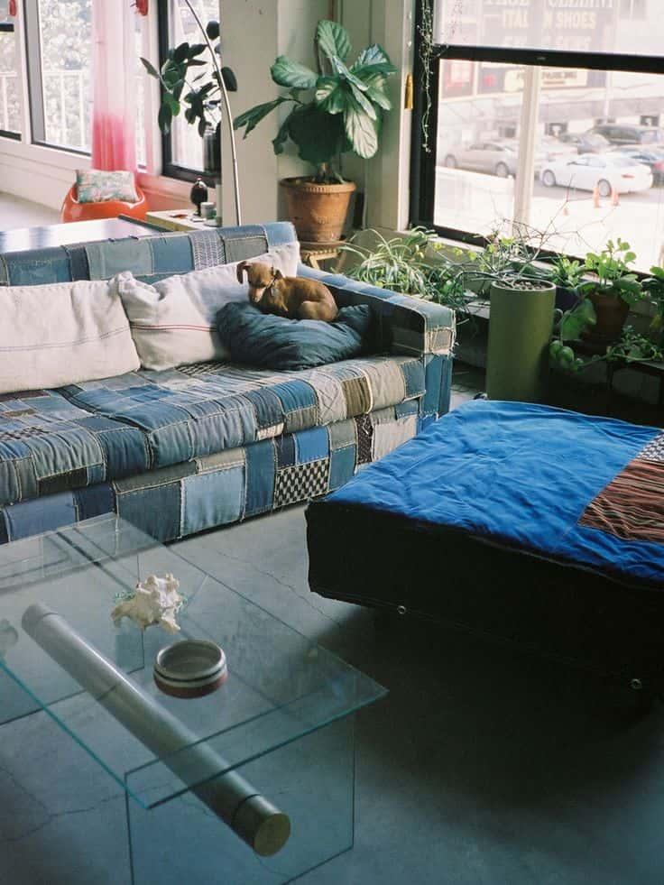 джинсовая мебель в интерьере