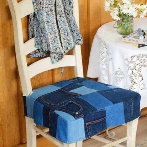 джинсовое сиденье для стула