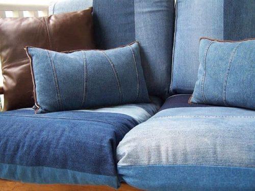 джинсовые диванные подушки