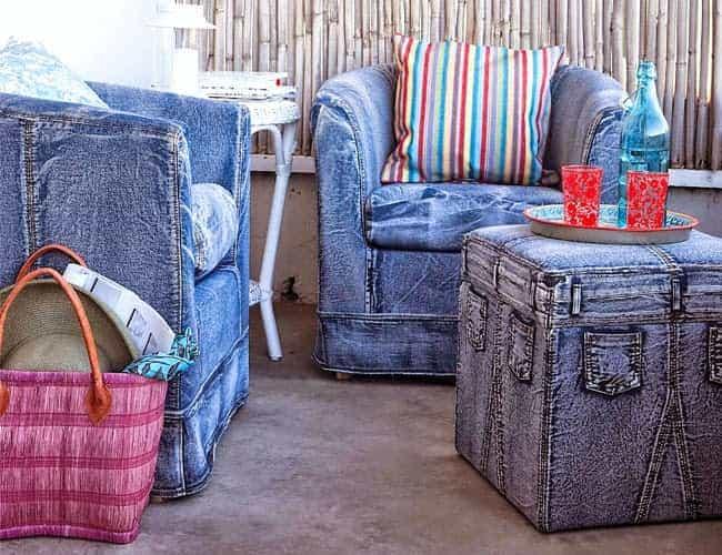 джинсовые кресла в интерьере