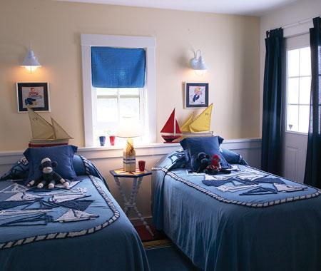 джинсовый интерьер спальни