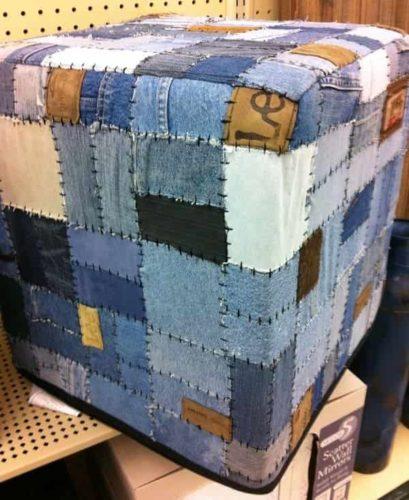 джинсовый пуфик-куб
