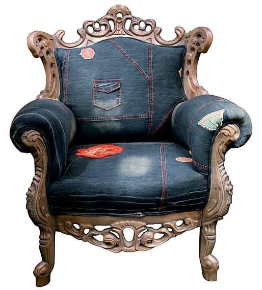 кресло из джинс под старину