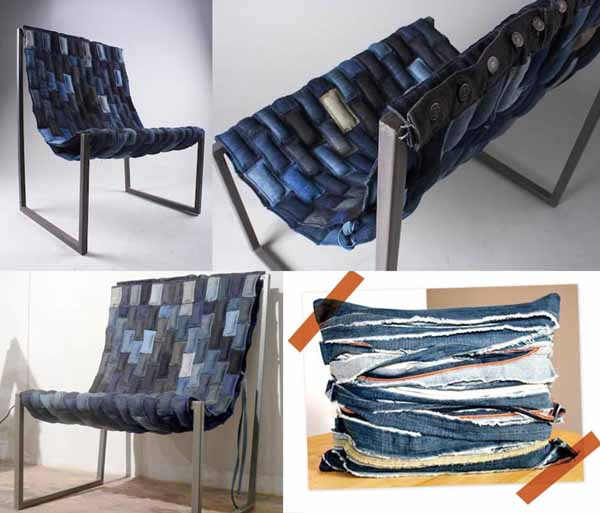 кресло из джинсовых полосок