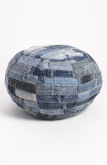 круглый пуф из джинс