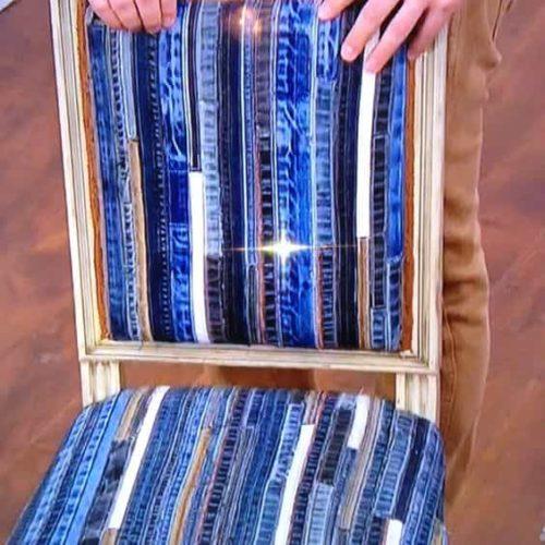 мебель из джинсовых полосок