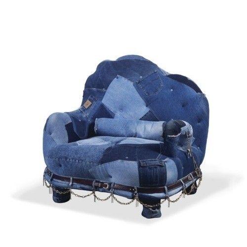 небольшой джинсовый диван