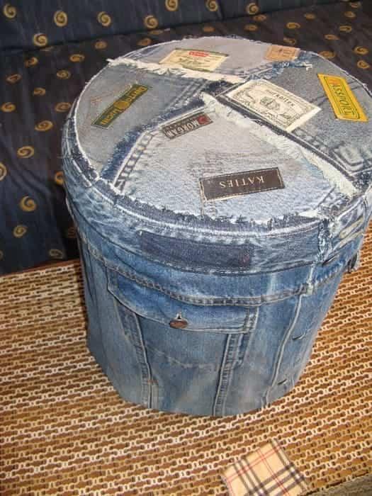 пуфик из джинс для прихожей