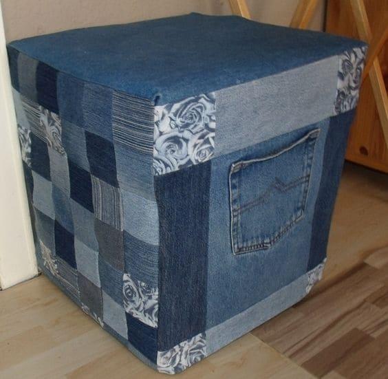 пуфик-куб из джинс