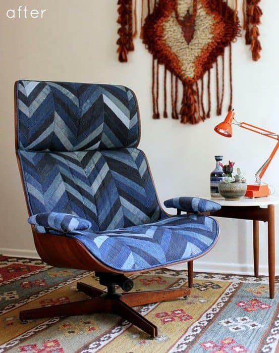 рабочее кресло на колесиках из джинсы