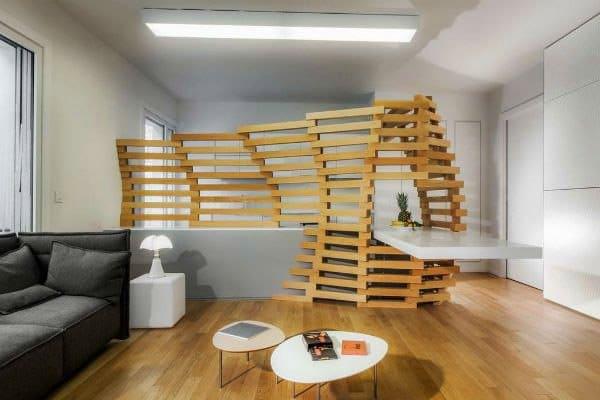 реечный деревянный стеллаж