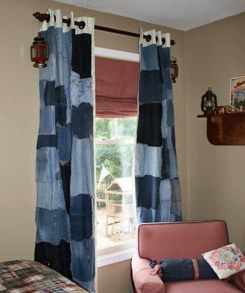 шторы из старых джинс