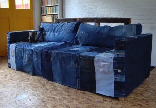 спальный диван из джинсов