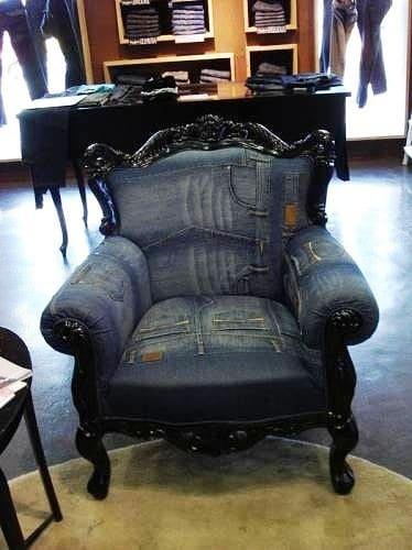 строгое кресло из джинсы